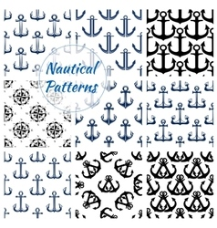 Nautical navy seamless patterns set vector
