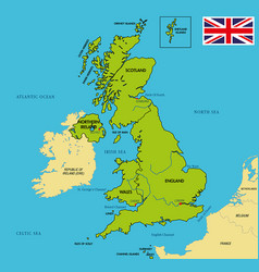 political map of united kingdom with regions vector image
