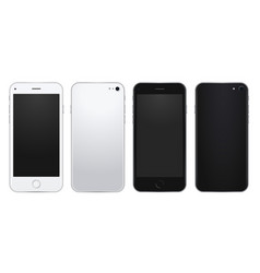 set of silver and black mobile phone template with vector image