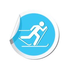 Ski track icon round blue vector