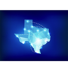 Texas state map polygonal with spotlights places vector