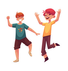 Two funny boys kids having fun dancing at party vector