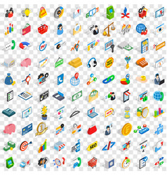 100 finance icons set isometric 3d style vector