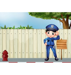 A police officer beside an empty wooden signage vector