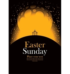 Easter with calvary and crosses vector