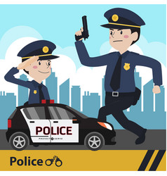 Characters police flat design vector