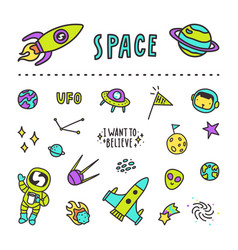 set of space stickers vector image