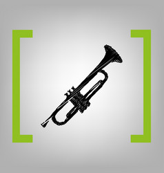 Musical instrument trumpet sign  black vector