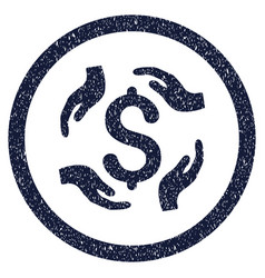 Dollar care hands rounded grainy icon vector