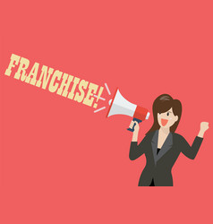 business woman holding a megaphone with word vector image