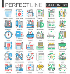 Office stationery - modern flat line concept vector