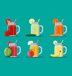 Fresh vegetable and fruit juice set vector