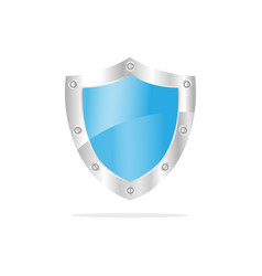 3d blue security shield on a white background vector