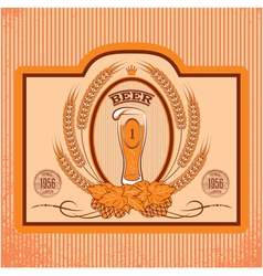 Oval label with a glass of beer vector
