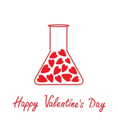 Love laboratory glass with hearts valentines day vector