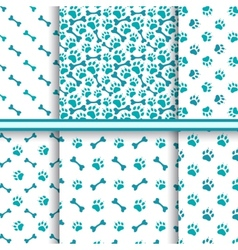 Seamless cat animal patterns of paw footprint vector