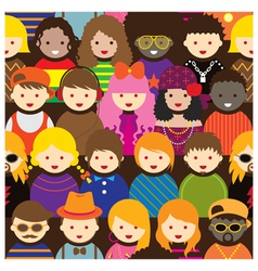 Various teenage people pattern vector