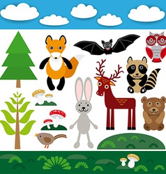 Funny set of cute wild animals forest and clouds vector