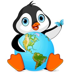 Penguin Earth Day vector image