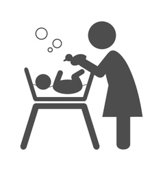 Mother bathes the baby pictogram flat icon vector