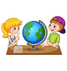 Children looking at globe on the table vector