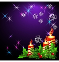 Christmas lighted candle vector
