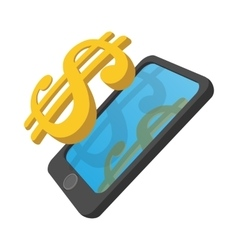 Smartphone with dollar on a display cartoon icon vector