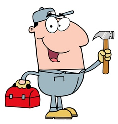 Handy man with tool box vector