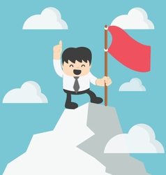 Businessman climbing atop peak vector