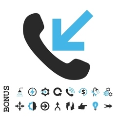 Incoming call flat icon with bonus vector