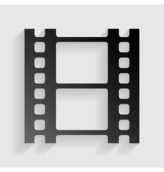 Reel of film sign black paper with shadow on gray vector