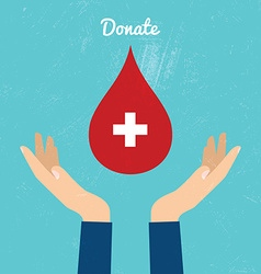 Donate blood bag on blue background vector