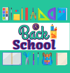 Back to school banner with learning accessories vector