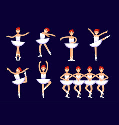 ballerina different poses in dancing isolated on vector image