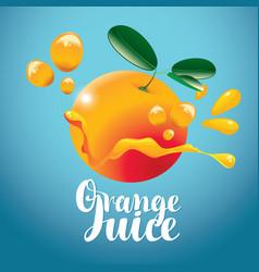 banner with orange fruit and fresh juice splash vector image