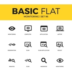 Basic set of monitoring icons vector