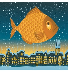big fish flies vector image vector image
