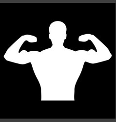 Bodybuilder it is the white color icon vector