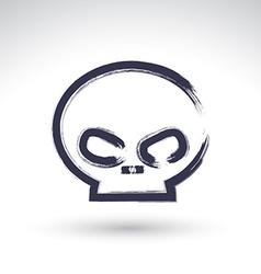Brush drawing simple human skull painted medicine vector image