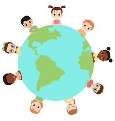 Children around the earth children around the vector