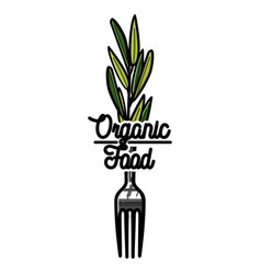 Color vintage organic food emblem vector
