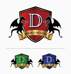 Double dragon crest logo vector