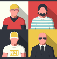 flat avatar icons vector image vector image
