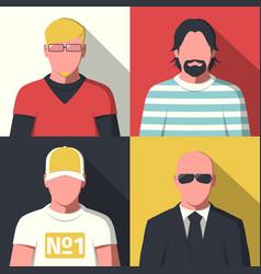 Flat avatar icons vector