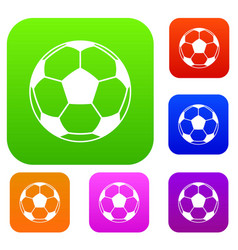 football or soccer ball set color collection vector image vector image