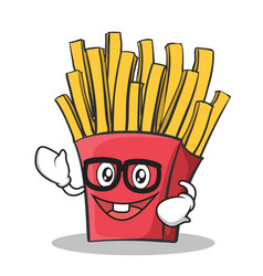 Geek face french fries cartoon character vector