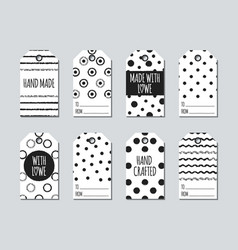 Gift tags and cards set with hand drawn elements vector