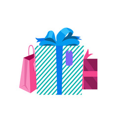 Gifts in box and packages vector