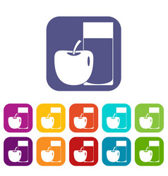 Glass of drink and apple icons set flat vector