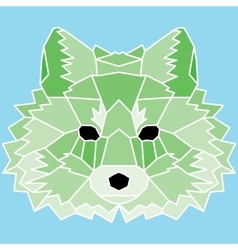 Green low poly lined fox vector